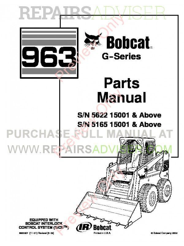 Bobcat 963 G-Series Skid Steer Loader Parts Manual PDF