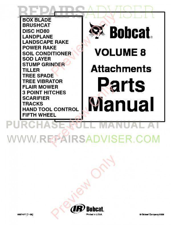 Bobcat Volume 8 Attachments Parts Manual PDF Download