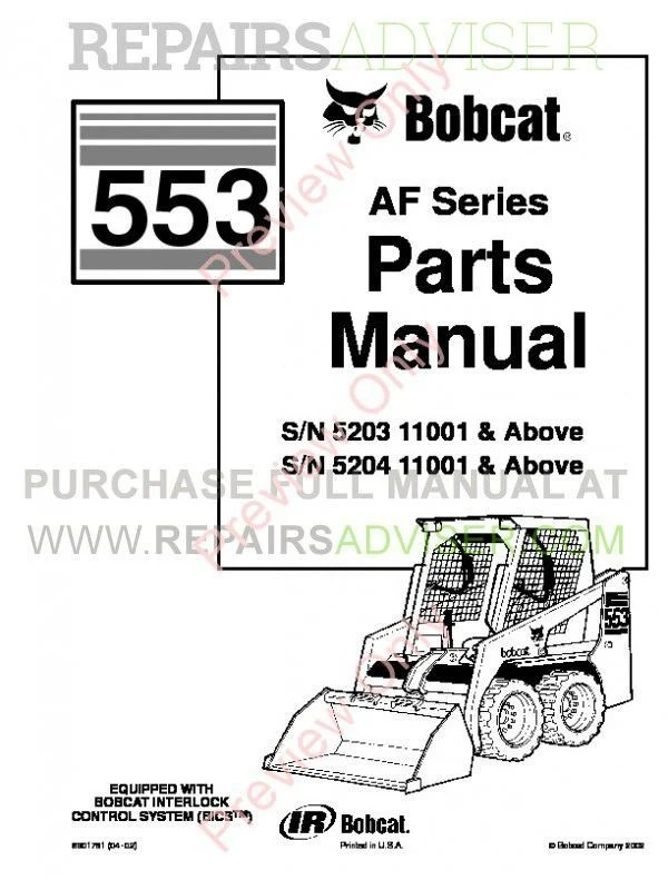 Bobcat 553 AF-Series Skid Steer Parts Manual PDF Download