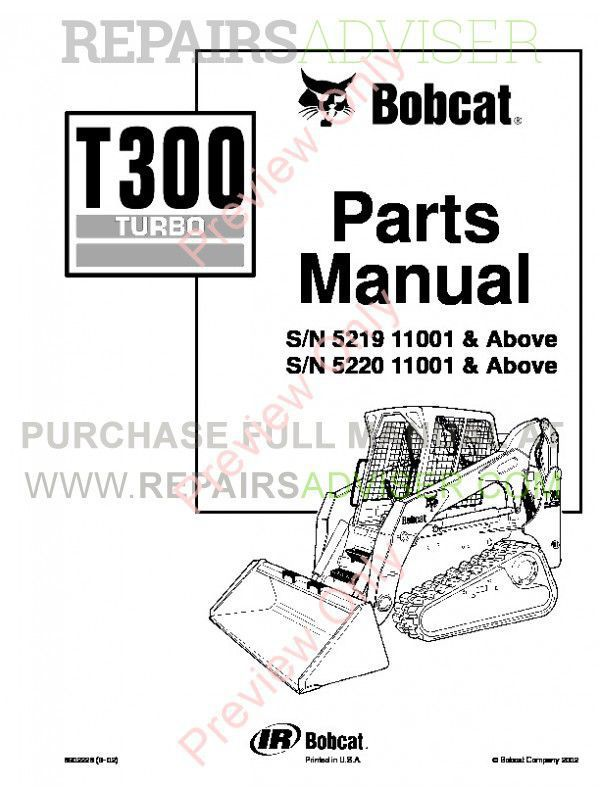 Bobcat T300 Parts Manual PDF Download Instant