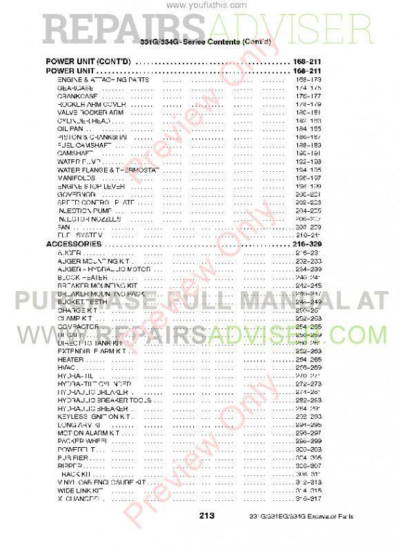 Bobcat 331, 331E, 334 (G-Series) Excavator Parts Manual