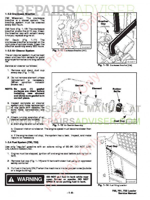 Bobcat 730, 731, 732 Skid Steer Loader Service Manual PDF