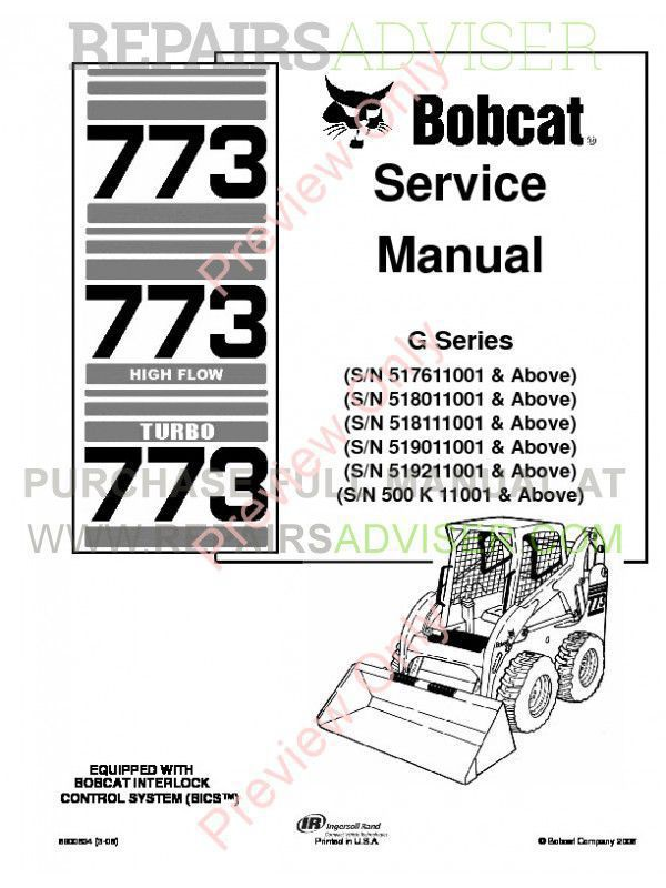Bobcat 773, 773 HF, 773 Turbo G-Series Service Manual PDF