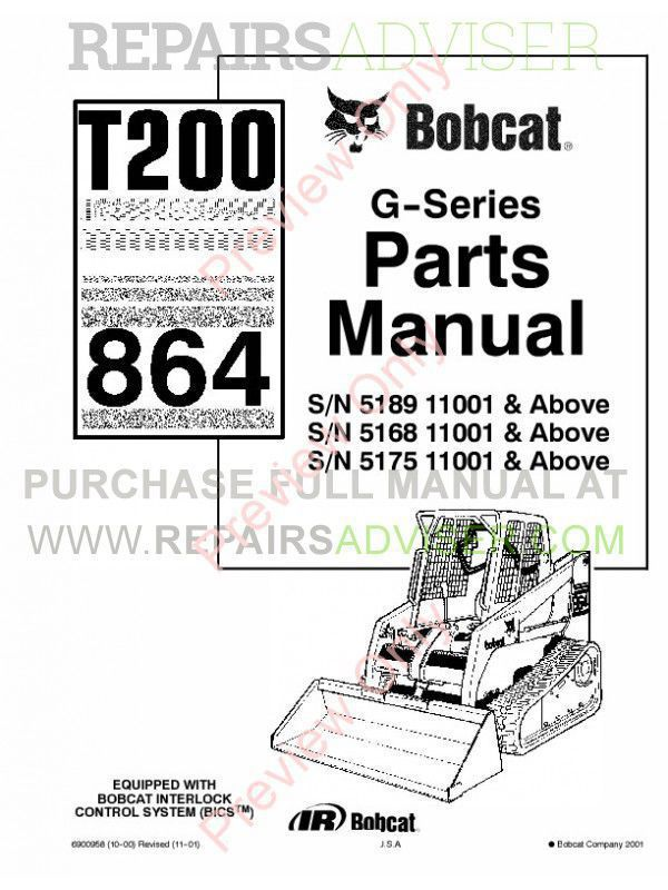 Bobcat T200 Turbo 864 G-Series Parts Manual PDF Download