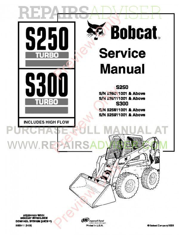 Download Bobcat S250, S300 Turbo HF PDF Service Manual