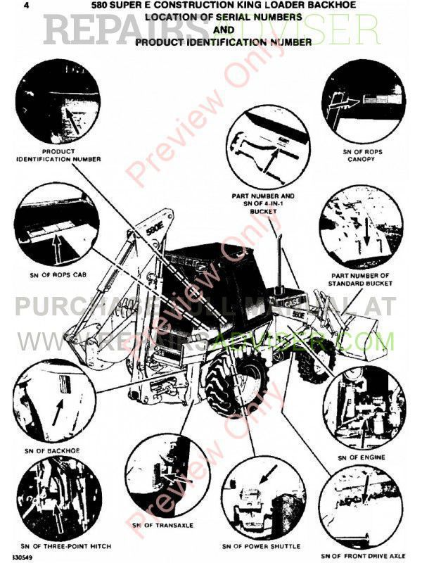 Case 580 Super E Construction King Loader Backhoe Parts