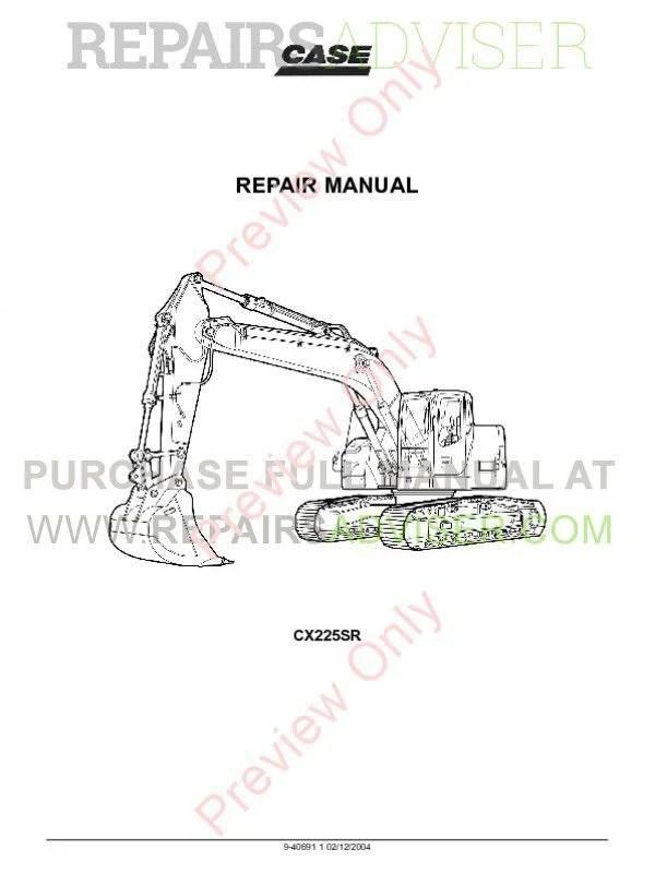Case CX225SR Crawler Excavator Repair Manual PDF