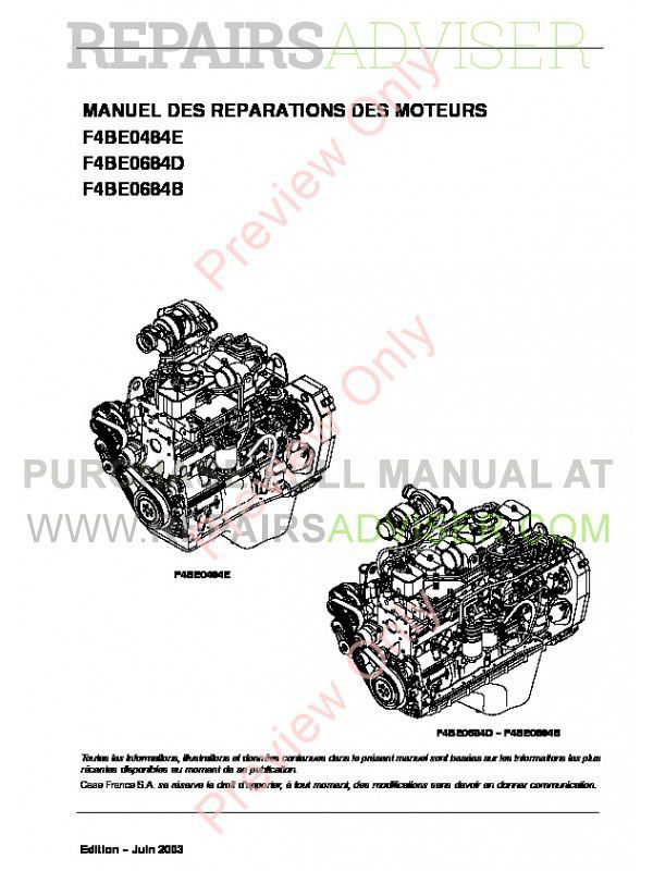 Case Iveco NEF Engines F4BE0454E-F4BE0684B Repair Manual