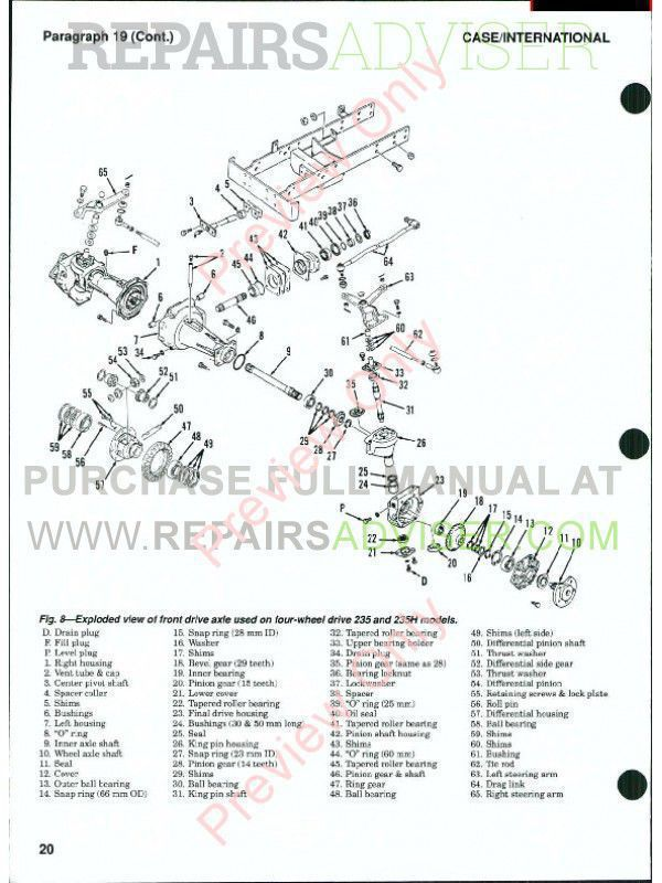 Case Tractors Models 235, 235H, 245, 255, 265, 275 Shop Manual