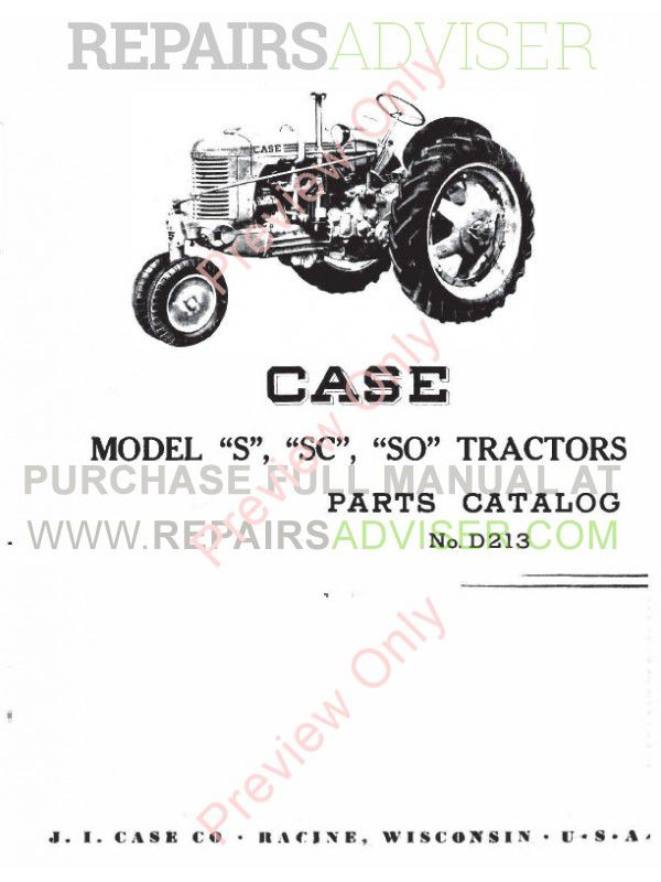Case Model S, SC, SO Tractors Parts Catalog PDF Download