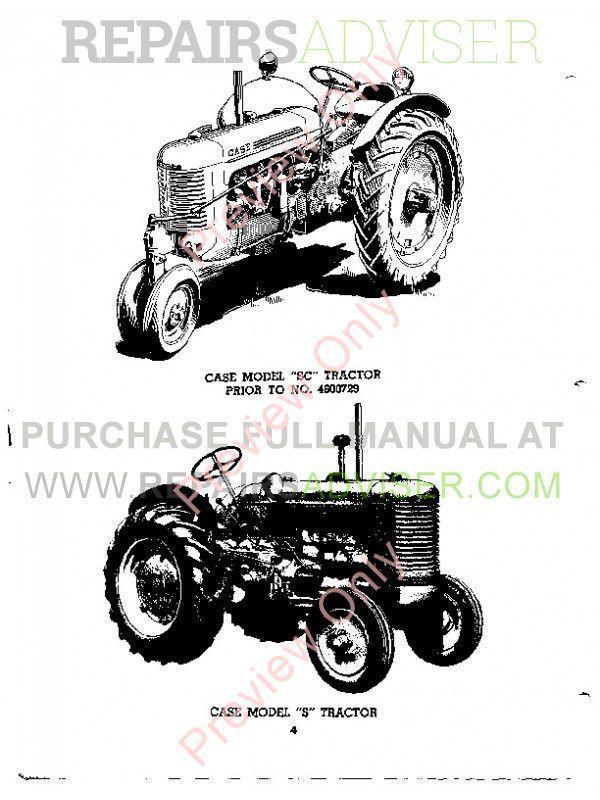Case Model S, SC, SO Tractors Parts Catalog PDF Download