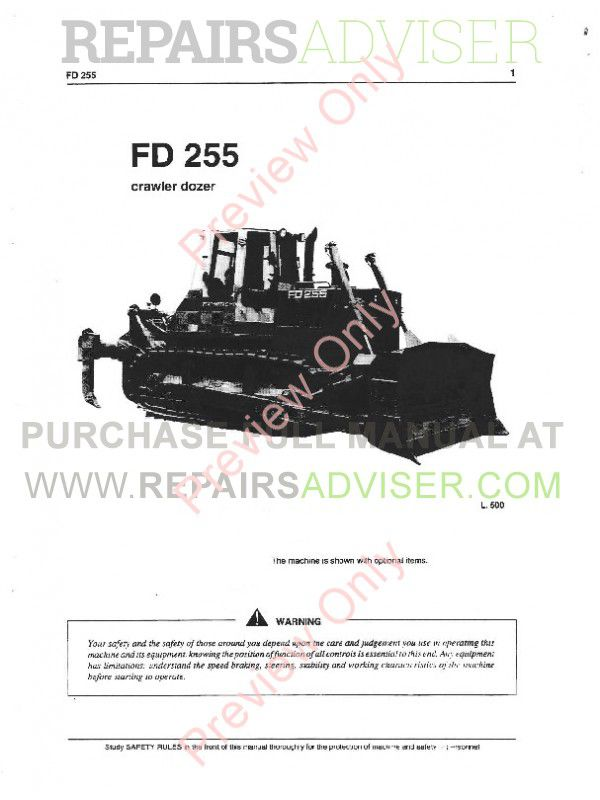FiatAllis FD255 Crawler Dozer Operation Service Manual