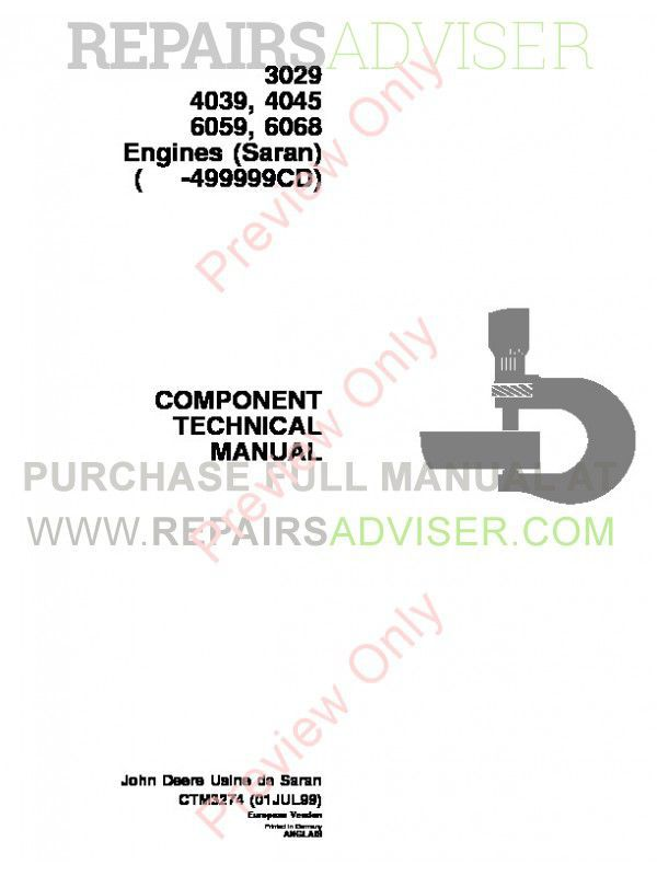 John Deere 3029-6068 Engines Technical Manual CTM-3274 PDF