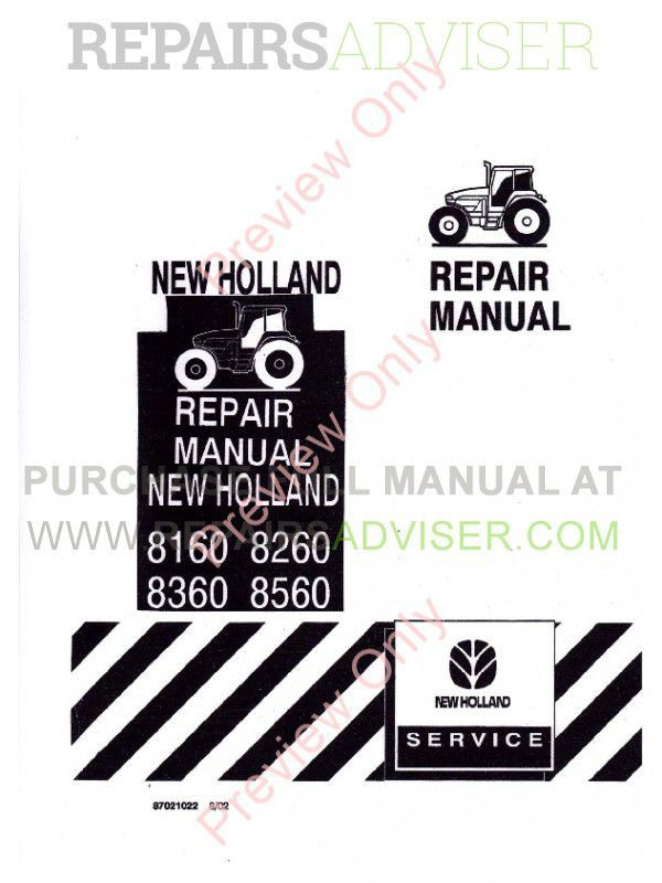 New Holland 8160 8260 8360 8560 Tractors Repair Manual PDF