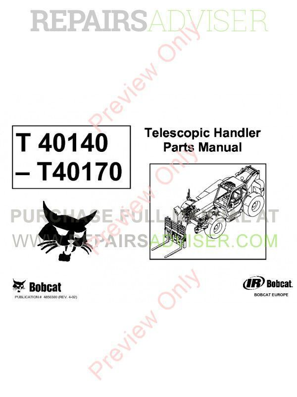 Bobcat T40140-T40170 Telescopic Handlers Parts Manual PDF