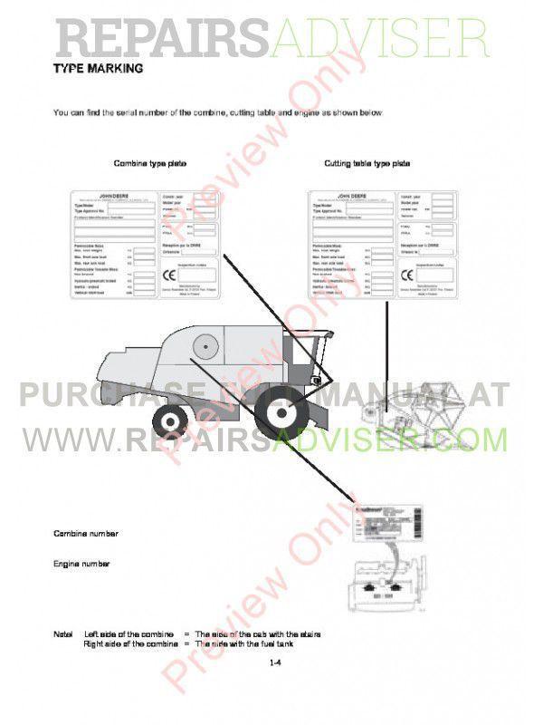 John Deere Combine W440 Technical Manual TM-5SR5145 PDF