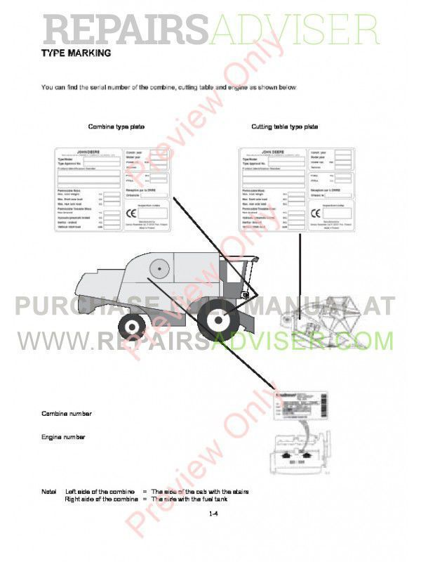 John Deere Combine W440 Technical Manual TM-5SR5145 PDF