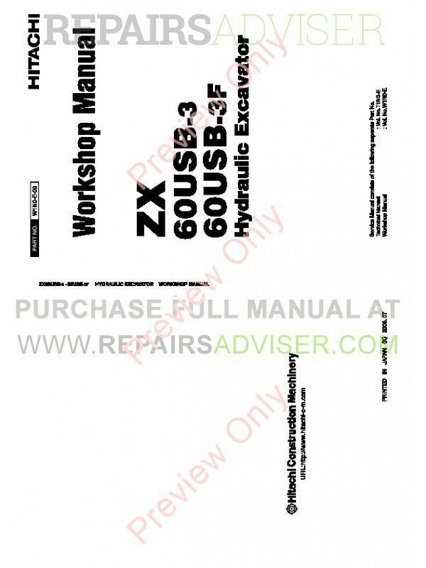 Hitachi ZX 60USB-3 & ZX 60USB-3F Hydraulic Excavator