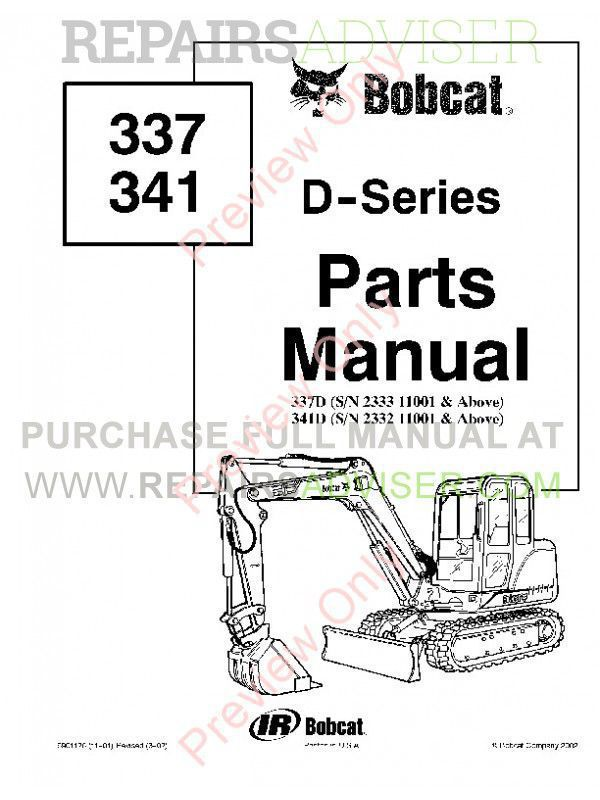 Bobcat 337, 341 D-Series Excavators Parts Manual PDF Download