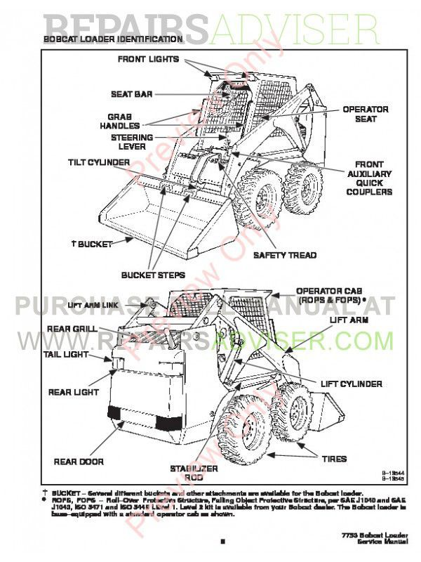 Bobcat 7753 Skid Steer Loader Service Manual PDF Download