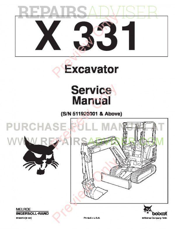 Bobcat X 331 Excavator Service Manual PDF Download