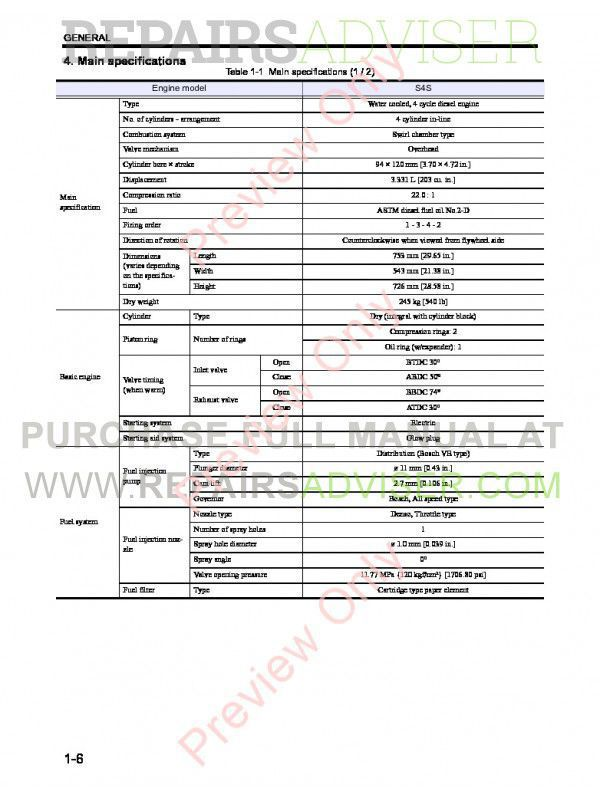 Cat S4S Engine DP20/25/30/35N Lift Trucks Service Manual