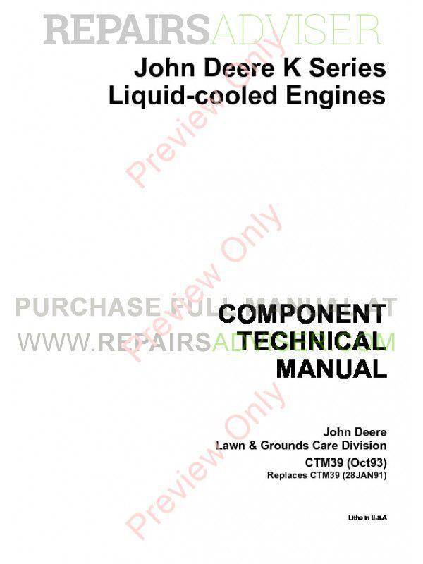 John Deere K Liquid Cooled Engine CTM39 Technical Manual PDF