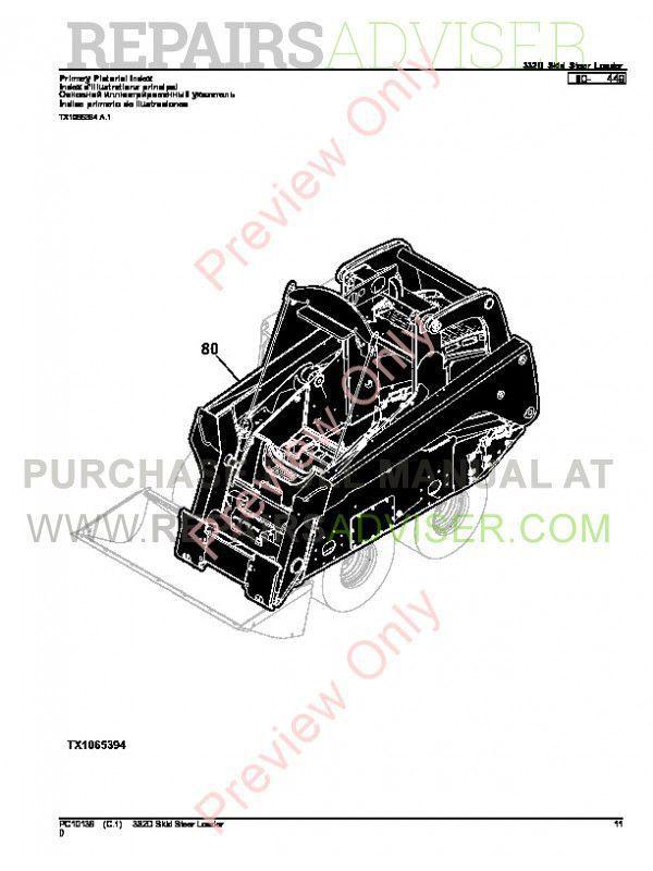 John Deere 332D Skid Steer Loader Parts Manual PC-10139