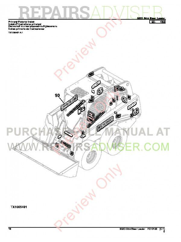 John Deere 332D Skid Steer Loader Parts Manual PC-10139