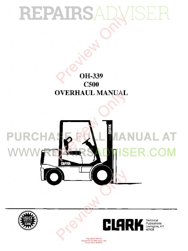 Clark C500 Forklift OH-339 Overhaul Manual PDF Instant