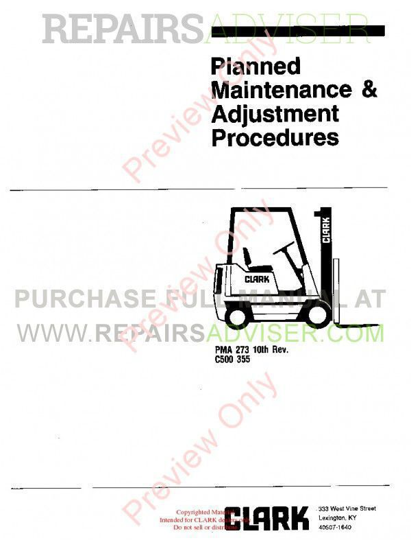 Clark C500 355 PMA-273 10th Rev. Planned Adjustment Procedures