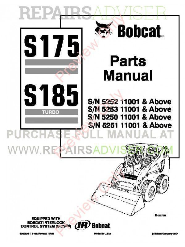 Bobcat S175, S185 Turbo Skid Steer Loader Parts Manual PDF