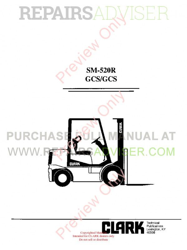 Clark GCS/GCS Forklifts SM-520R Service Manual PDF Download