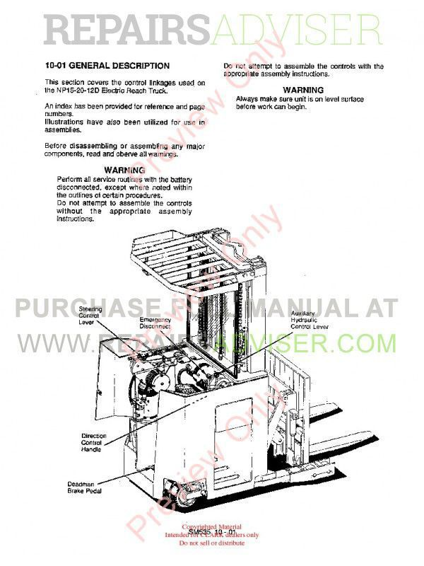 Clark NP 15-20-12D Forklifts SM535 Service Manual PDF Download