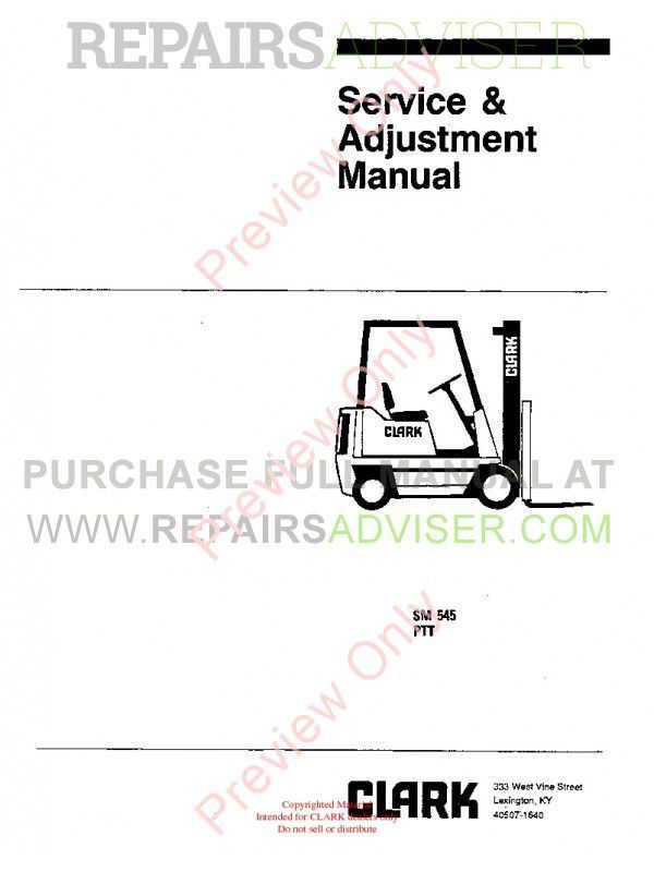 Clark PTT 5/7 Forklifts SM 545 Service Manual PDF Download