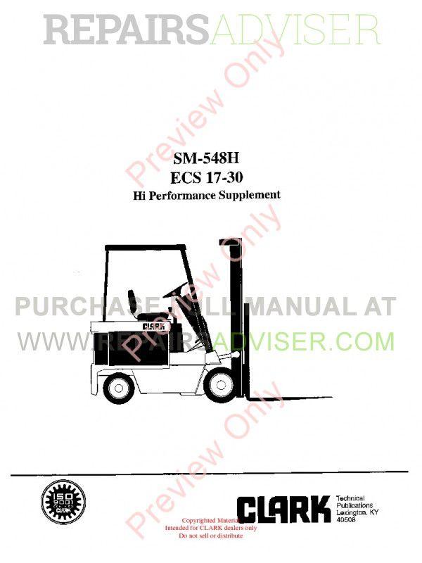 Clark ECS 17-30 Hi Performance Supplement SM-548H Service