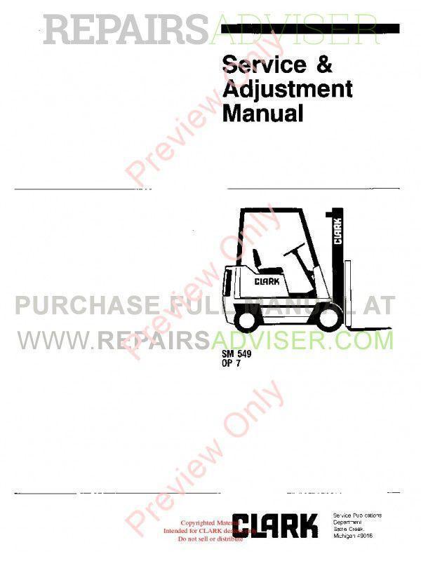 Clark OP 7 Forklifts SM 549 Service Adjustment Manual PDF