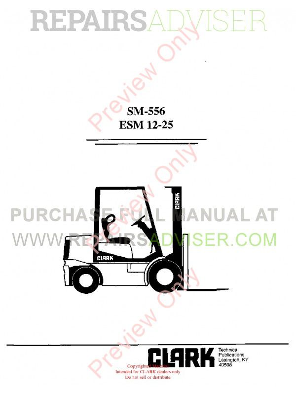 Clark ESM 12-25 Forklifts SM-556 Service Manual PDF Download