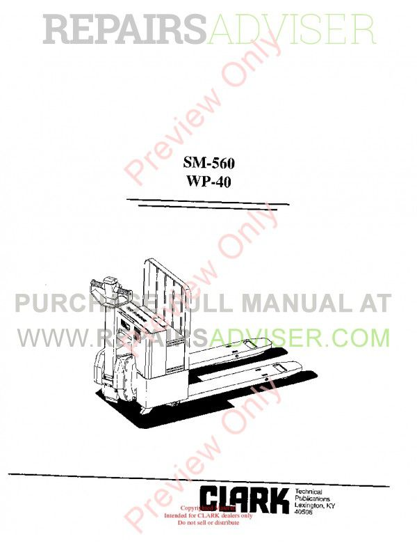 Clark WP-40 Forklifts SM-560 Service Manual PDF Download