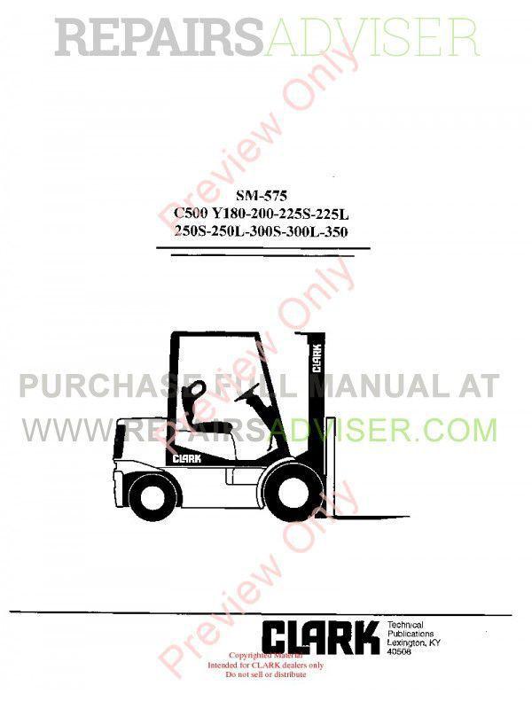 Clark C500 Y180-200-225S-225L-250S-250L-300S-350 Service