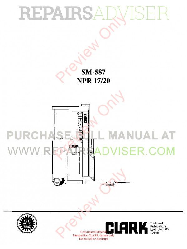 Clark NPR 17/20 Lift Trucks SM-587 Service Manual PDF Download