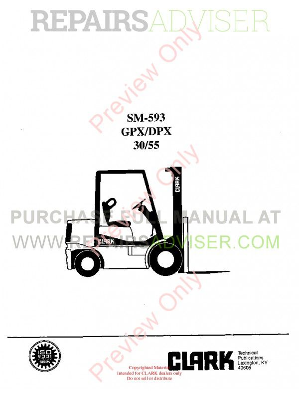 Clark GPX/DPX 30/55 Lift Trucks SM-593 Service Manual PDF