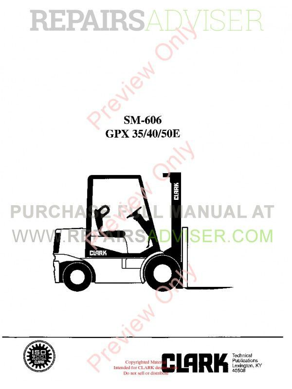 Clark GPX 35/40/50E Lift Trucks SM-606 Service Manual PDF