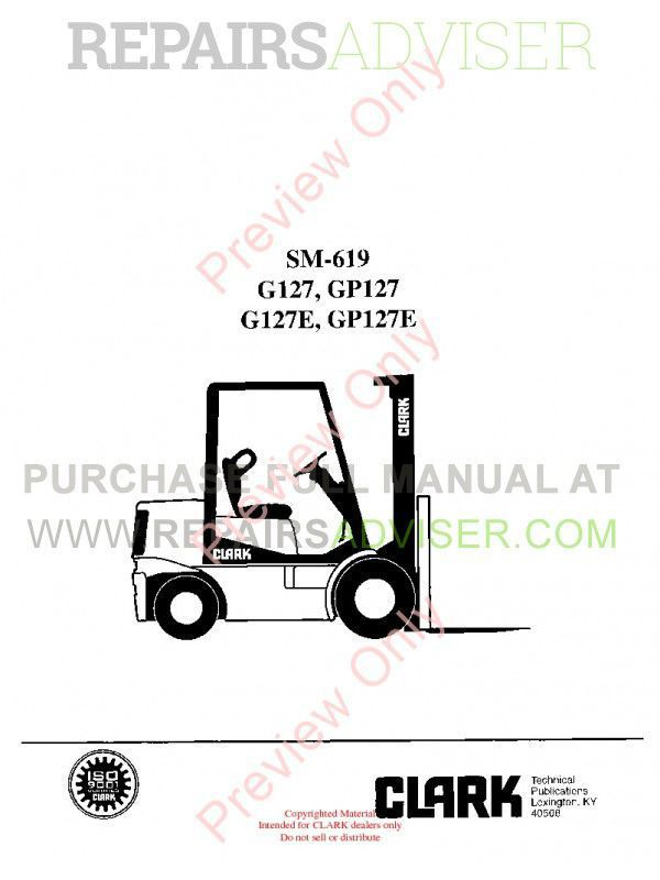 Clark G127, GP127, G127E, GP127E Lift Trucks SM-619