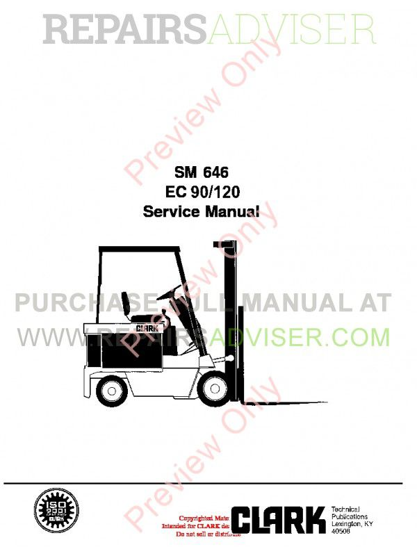 Clark EC 90/120 Lift Truck SM 646 Service Manual PDF Download