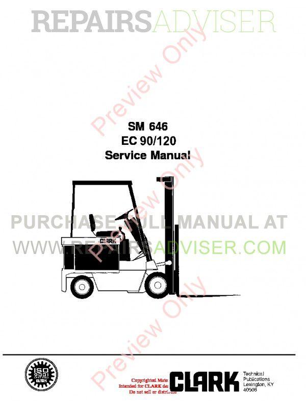 Clark EC 90/120 Lift Truck SM 646 Service Manual PDF Download