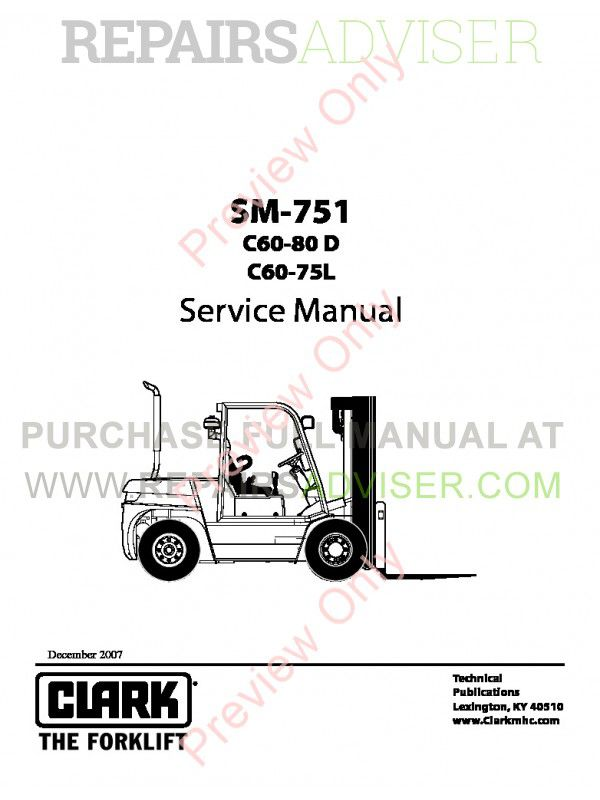 Clark C60-80D, C60-75L Lift Trucks SM-751 Service Manual