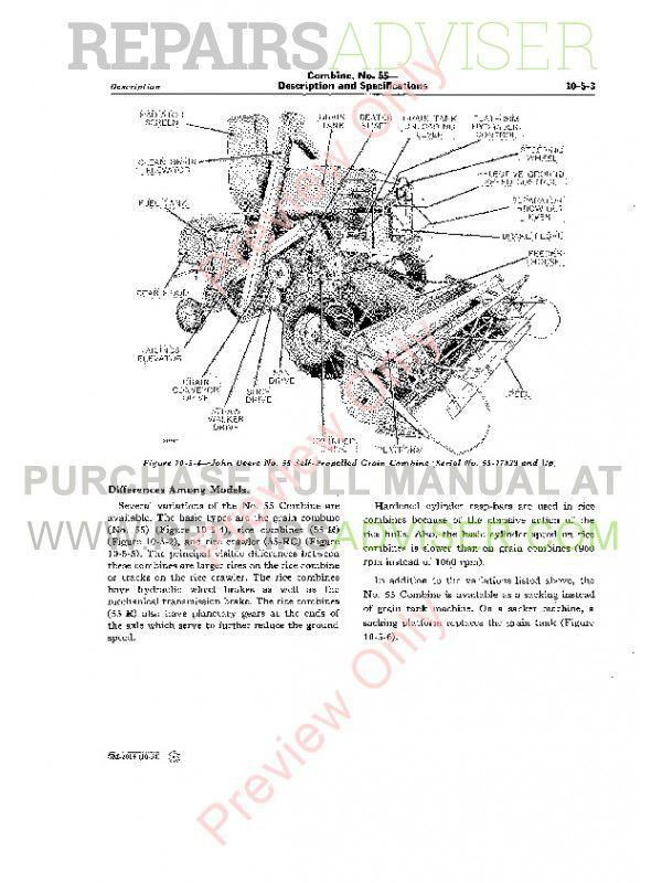 John Deere No. 55 Combine Service Manual SM-2014 PDF Download