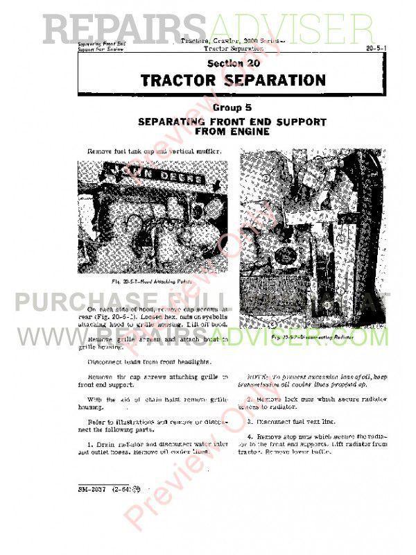 John Deere 2000 Series Crawler Tractors Service Manual SM