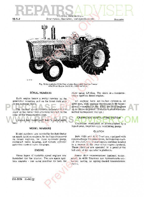 John Deere 4000 Series Tractors Service Manual SM-2039 PDF